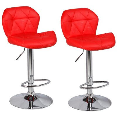 Cierra Adjustable Height Swivel Bar Stool Upholstery: Red