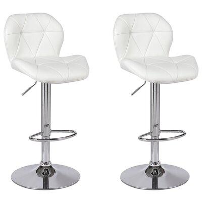 Cierra Adjustable Height Swivel Bar Stool Upholstery: White