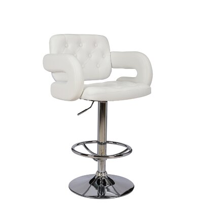 Castlebourne Series Adjustable Height Swivel Bar Stool Upholstery: White