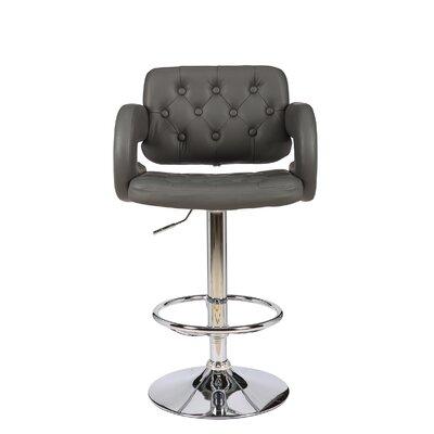Castlebourne Series Adjustable Height Swivel Bar Stool Upholstery: Gray