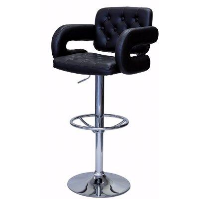 Castlebourne Series Adjustable Height Swivel Bar Stool Upholstery: Black