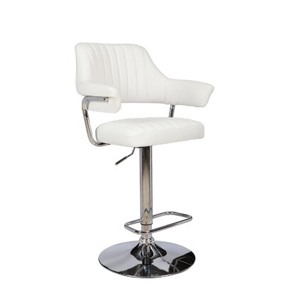 Castlethorpe Series Adjustable Height Swivel Bar Stool Upholstery: White