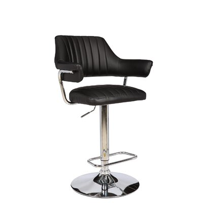 Castlethorpe Series Adjustable Height Swivel Bar Stool Upholstery: Black