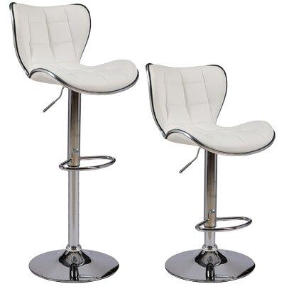 Catarina Series Adjustable Height Swivel Bar Stool Upholstery: White