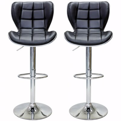 Catarina Series Adjustable Height Swivel Bar Stool Upholstery: Gray