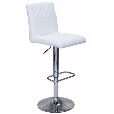 Caterina Series Adjustable Height Swivel Bar Stool Upholstery: White