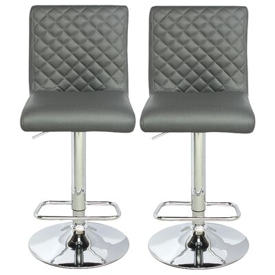 Caterina Series Adjustable Height Swivel Bar Stool Upholstery: Gray