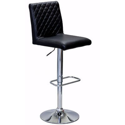Caterina Series Adjustable Height Swivel Bar Stool Upholstery: Black
