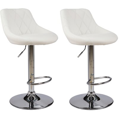 Caudalie Series Height Adjustable Swivel Bar Stool Upholstery: White