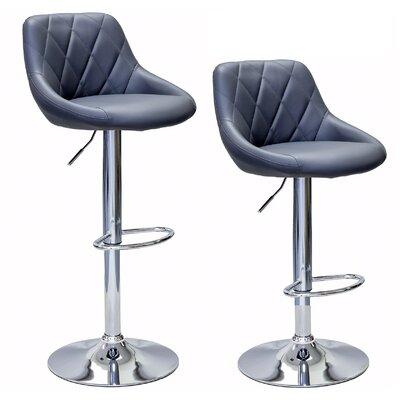 Caudalie Series Height Adjustable Swivel Bar Stool Upholstery: Gray