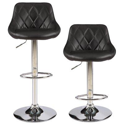 Caudalie Series Height Adjustable Swivel Bar Stool Upholstery: Black