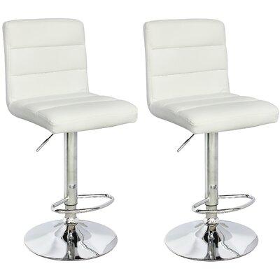 Cavalier Series Adjustable Height Swivel Bar Stool Upholstery: White