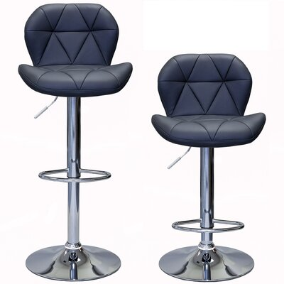 Cierra Adjustable Height Swivel Bar Stool Upholstery: Gray