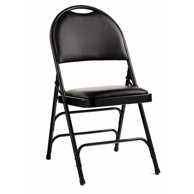 Comfort Series Leather Padded Folding Chair Finish: Black