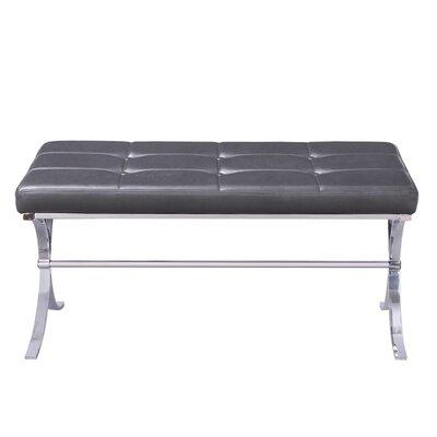 Armaz Faux Leather Bench Color: Gray