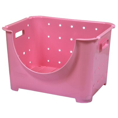 Stackable Plastic Storage Container Stacking Bins Color: Pink