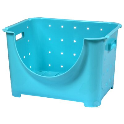 Stackable Plastic Storage Container Stacking Bins Color: Blue