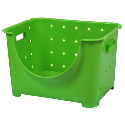 Stackable Plastic Storage Container Stacking Bins Color: Green