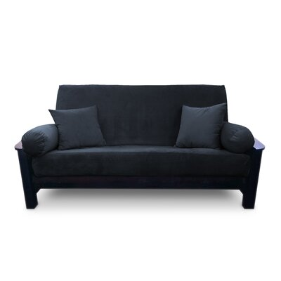 Simoes Solid Box Cushion Futon Slipcover Size: Queen, Upholstery: Persimmon