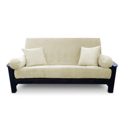 Simoes Solid Zipper Box Cushion Futon Slipcover Upholstery: Cream