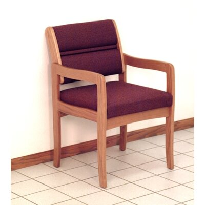 Standard Leg Guest Chair Finish: Medium Oak, Seat Color: Powder Blue, Arm Options: Included
