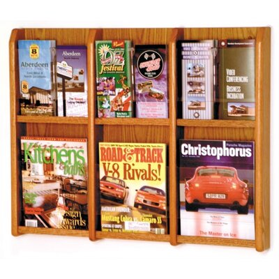 6 Magazine / 12 Brochure Wall Display Wood Color: Medium Oak