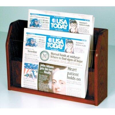 Countertop 2 Pocket Newspaper Display Wood Color: Dark Red Mahogany