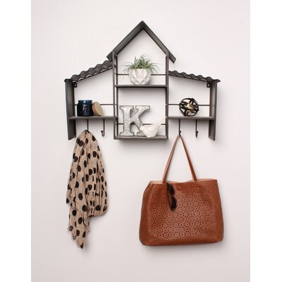 Bergamot Corrugated Metal House Wall Shelves with Coat Rack Hooks