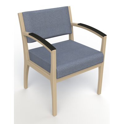 Itasca Wall Guard Back Leg Guest Chair Finish: Natural, Arm Options: Padded, Seat Color: Script Cobalt