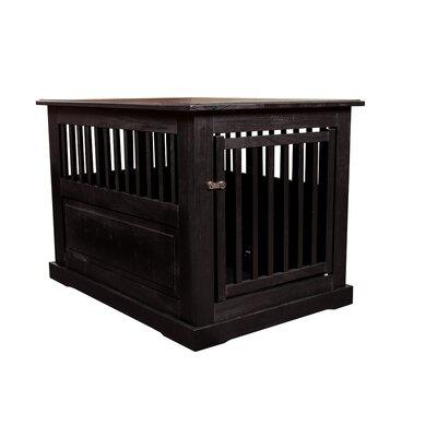 "Flower Amish Pet Crate Finish: Black, Size: Large (27"" H x 28"" W x 39"" D)"