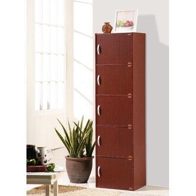 5 Door Storage Accent Cabinet Color: Mahogany