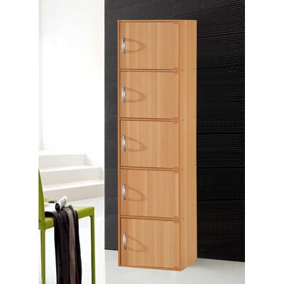5 Door Storage Accent Cabinet Color: Beech