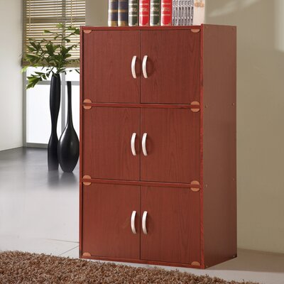 6 Door Storage Accent Cabinet Color: Mahogany