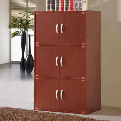 6 Door Storage Accent Cabinet Color: Mahogany