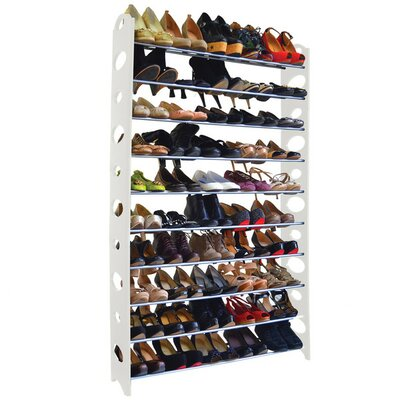 10-Tier 50 Pair Stackable Shoe Rack Finish: White