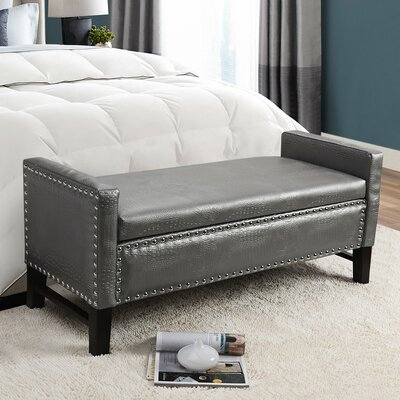 Megallan Storage Bench Upholstery: Silver Croc
