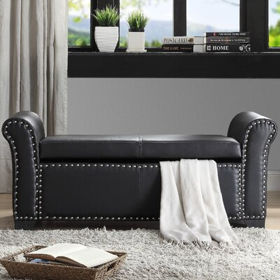Grogg Faux Leather Storage Bench Upholstery: Black