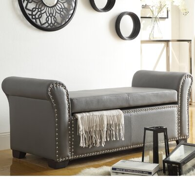 Grogg Faux Leather Storage Bench Upholstery: Gray
