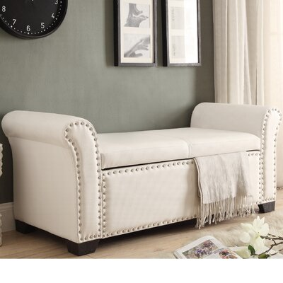 Grogg Faux Leather Storage Bench Upholstery: Ivory