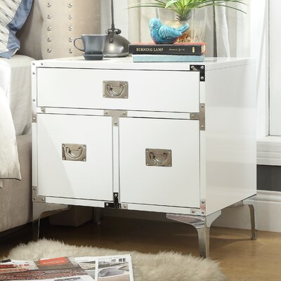 Marcelo 1 Drawer Nightstand Color: White