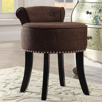 Emest Rolled Back Vanity Stool Color: Brown