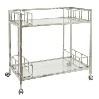 Rowlett Metal/Glass Bar Cart Color: Silver