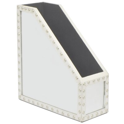 Denita Mirrored Magzine Holder Leather/Faux Leather Box