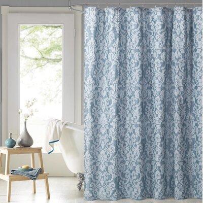 Edelina Steel Damask 100% Cotton Shower Curtain