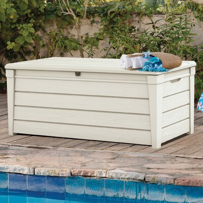 Brightwood 120 Gallon Resin Deck Box Color: Off White