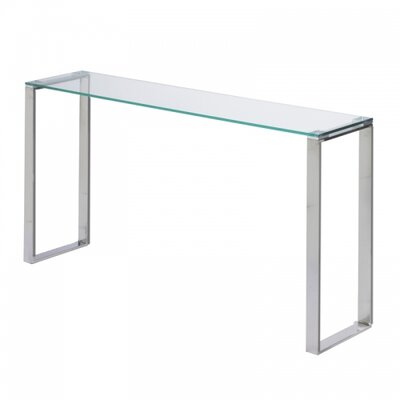 "Irina Narrow Console Table Size: 30"" H x 36"" W x 8"" D, Table Base Color: Stainless Steel"