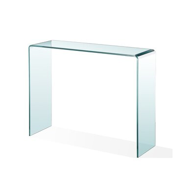 """Peek Acrylic Console Table Size: 30.5"""" H x 43"""" W x 13"""" D, Color: Tempered Glass"""