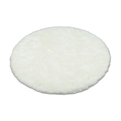 Walk On Me Animal Round White Area Rug