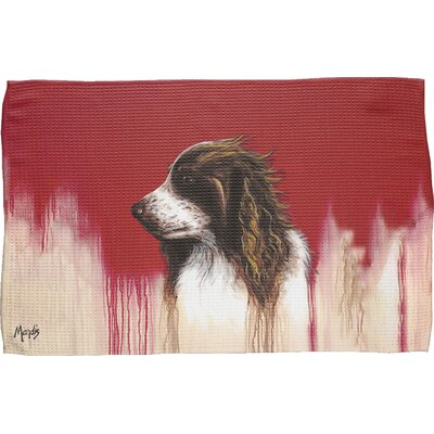 Brittany Spaniel Waffle Weave Hand Towel