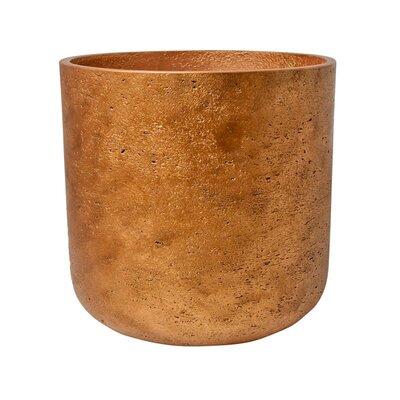 """Petite Textured Fiberstone Pot Planter Size: 13"""" H x 14"""" W x 14"""" D, Color: Copper"""